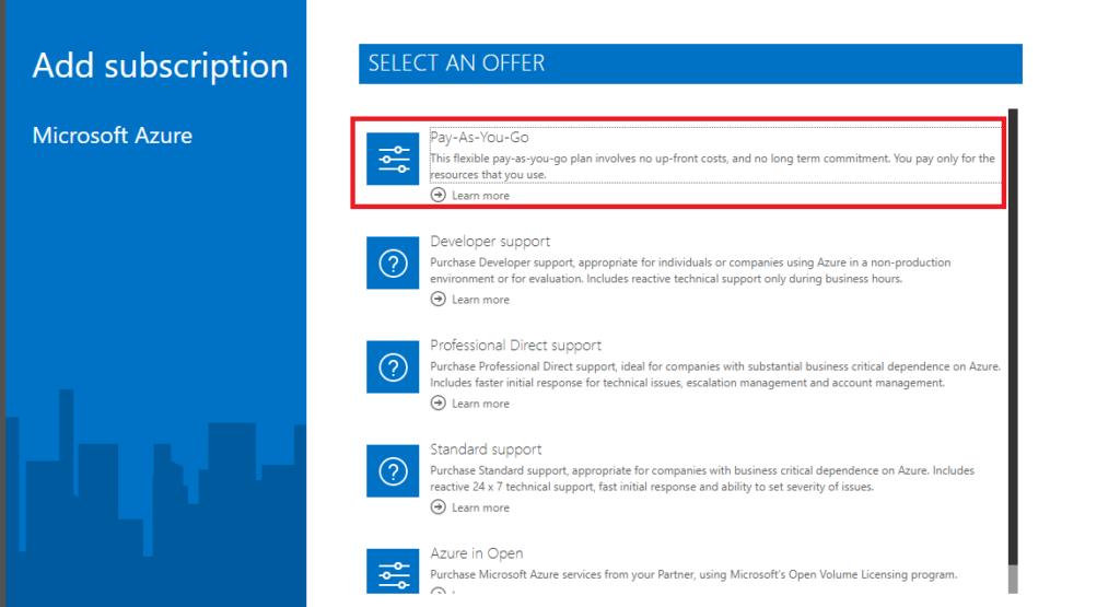 Azureサブスクリプション種類選択