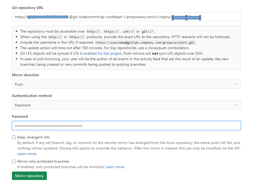 GitLabとCodecommitの連携