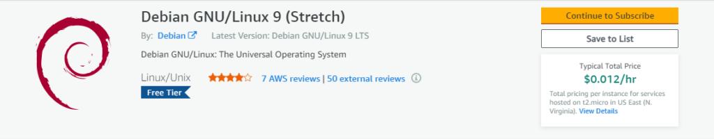 DebianのAMIを選択