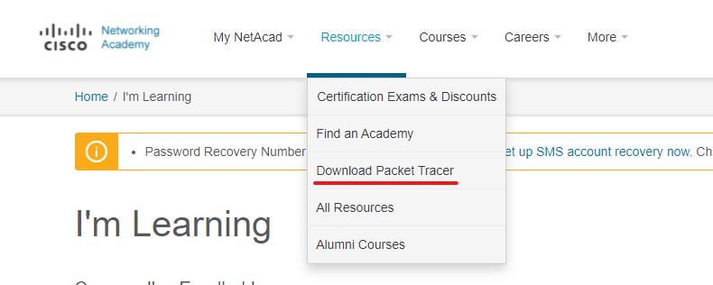 PacketTracerのダウンロード